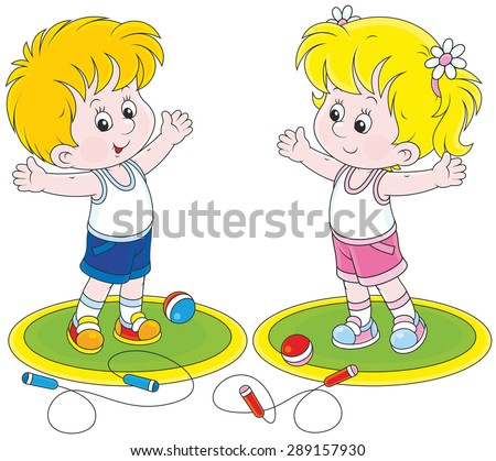 Girl and boy doing morning exercises - stock vector