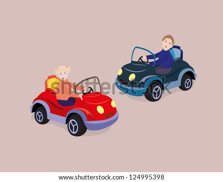 Girl and boy driving toy car