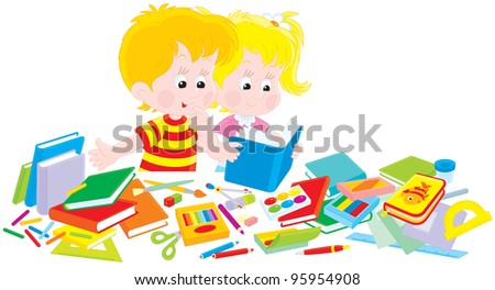 Girl and boy, first-graders, who collect textbooks, exercise books and other school supplies for the first grade of primary school - stock vector