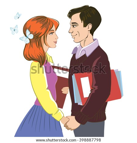 Girl and boy holding hands. Love affair at work. Spring. Flirt. Love. Relations.  - stock vector