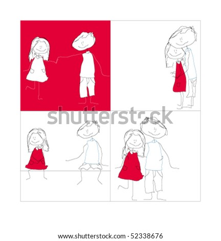 Girl and boy in love animated in different positions. - stock vector