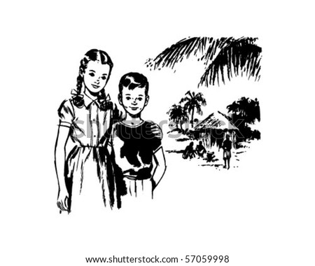 Girl And Boy In Tropics - Retro Clip Art - stock vector