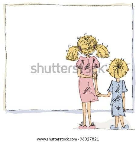 Girl and boy looking at blank board with copy space, education theme vector cartoon style illustration, easy to edit or change composition. - stock vector