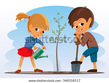 Girl and boy planted a tree. Vector Illustration