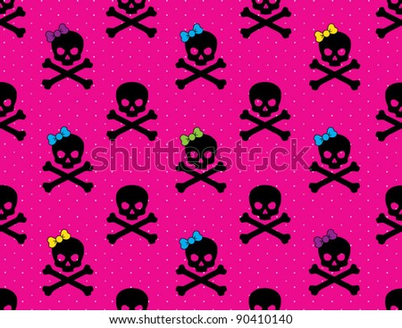 Girl and Boy Skull and Cross Bones Pattern on Hot Pink  Dotted Background - stock vector