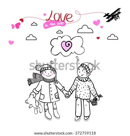Girl and boy. Valentines day. Postcard. Love in the city. Vector.