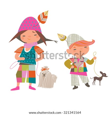 girl and boy with dogs on a white background - stock vector