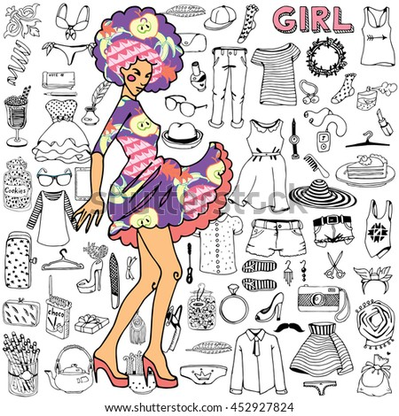 Girl and her clothes with accessories. Hand drawn doodle. - stock vector