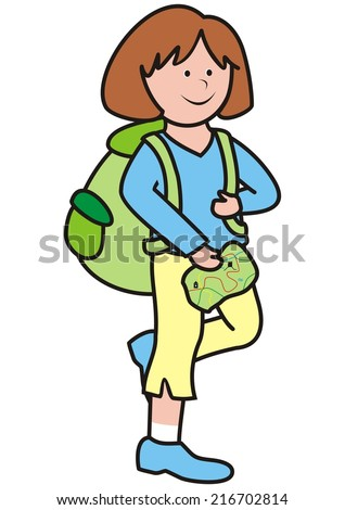 Girl and map - stock vector
