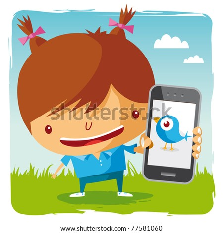 girl and mobile phone - social network - stock vector
