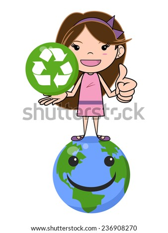 Girl and recycling symbol, caring planet, isolated vector illustration - stock vector