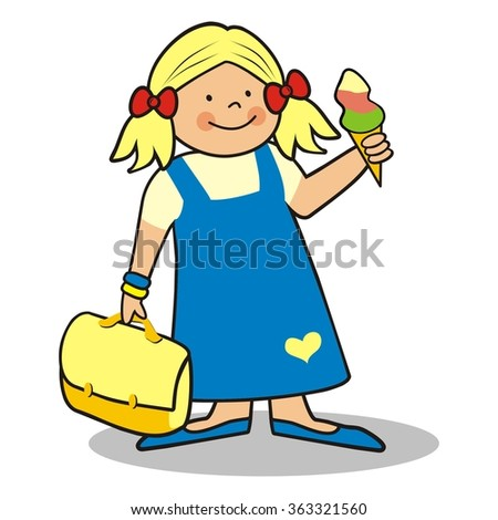 girl and schoolbag - stock vector