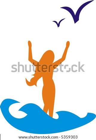 Girl and the ocean - stock vector