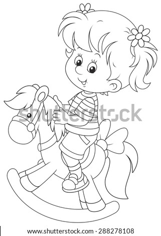 Girl and toy horse - stock vector