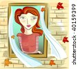 girl and window - stock vector