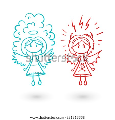 Girl angel and devil. Graphic sketch style vector illustration. Flat set. - stock vector