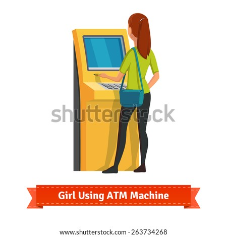Girl at ATM machine doing deposit or withdrawal. Woman standing. Flat style vector icon. - stock vector