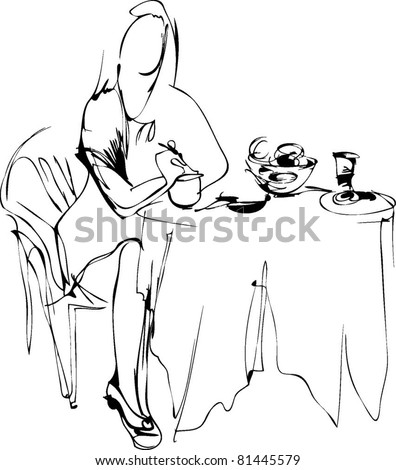 girl ate breakfast in a cafe at a table - stock vector