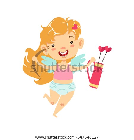 Girl Baby Cupid With Bow And Quiver, Winged Toddler In Diaper Adorable Love Symbol Cartoon Character