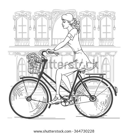 Girl bicyclist in Paris. Leisure young woman, urban travel, fashion city. Hand drawn beautiful girl in Paris vector illustration - stock vector