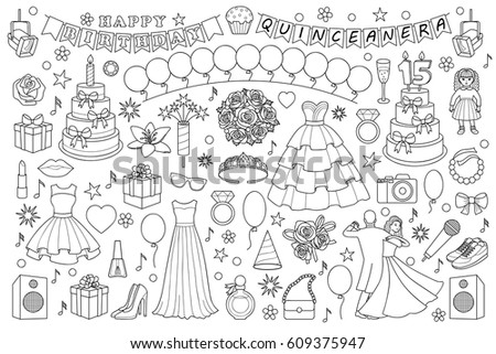 Quinceanera Dresses Coloring Pages. Girl birthday doodle set on white background  Vector objects and elements for birthdays quinceanera Quinceanera Stock Images Royalty Free Vectors Shutterstock