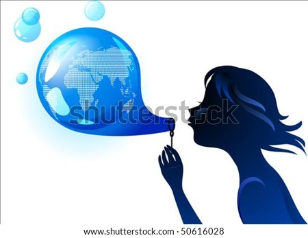 Girl blowing a bubble-shaped Earth - stock vector