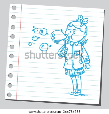 Girl blowing soap bubbles - stock vector