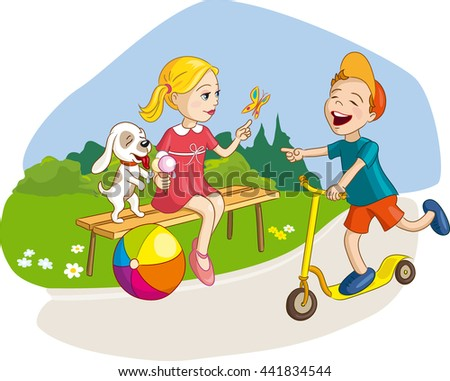 Girl, boy and dog having fun, summer vacation in park with ice-cream and scooter. Vector illustration for kids, children - stock vector