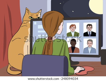 girl browses at on line dating site   stock vector