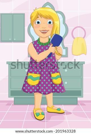 Girl Brushing Hair Vector Illustration - stock vector