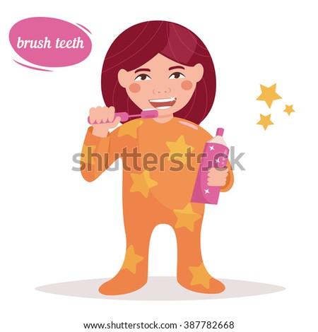 Girl brushing her teeth. Child. Hygiene.  Vector isolated illustration. Cartoon character.  - stock vector