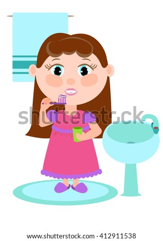 Girl brushing her teeth. Clipart about the children.