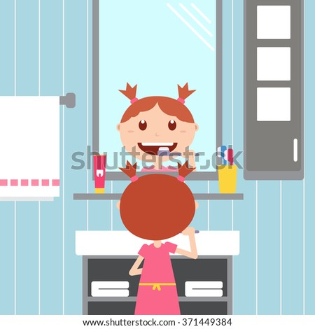 Girl brushing her teeth in front of a mirror in the bathroom. Happy baby with healthy teeth, toothpaste and toothbrush.Vector flat  illustrations. - stock vector