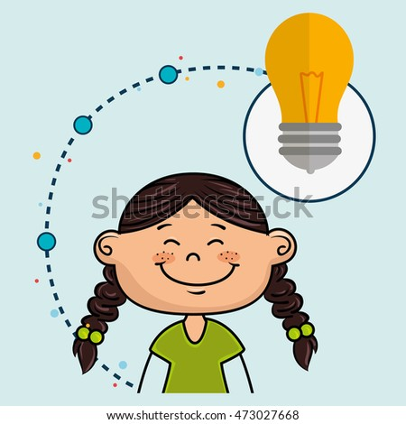 girl cartoon idea icon vector illustration design