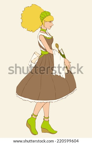 girl chef cook in dress with book