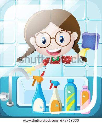 Girl Cleaning Bathroom Sink Illustration