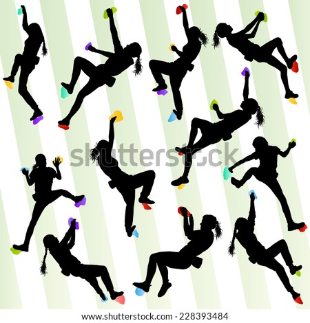 Girl climbing rock wall set vector background concept - stock vector