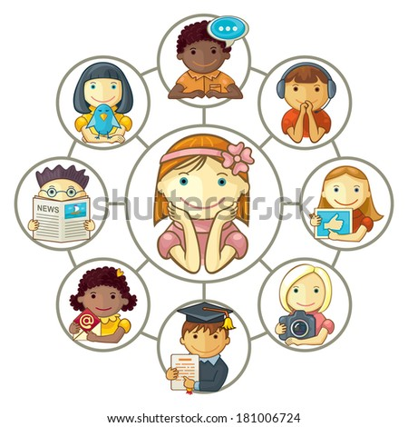 Girl Connected Through Social Media With Friends - stock vector