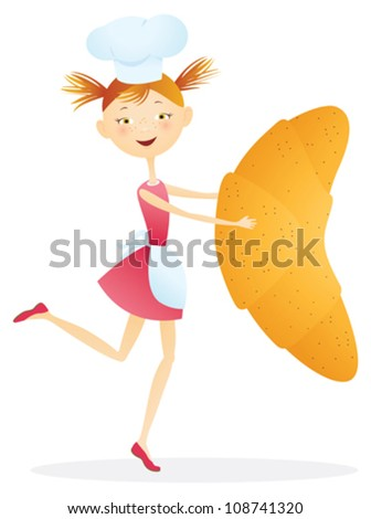 Girl cook with croissants. Contains transparent objects used for face drawing - stock vector