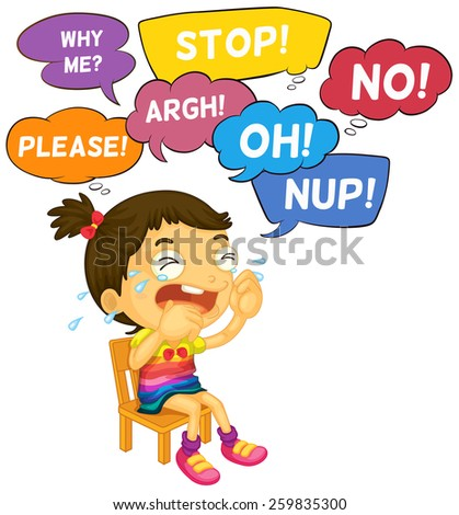 Girl crying with word expressions - stock vector