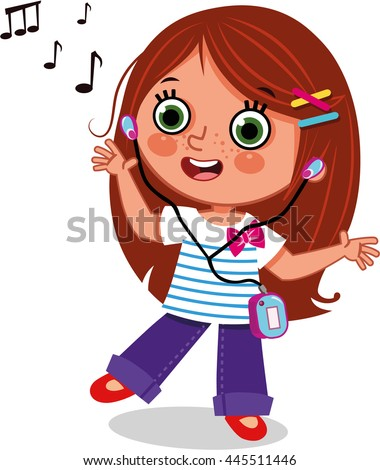 girl dancing while listening music clipart stock vector 445511446 rh shutterstock com boy listening to music clipart listening to music clipart