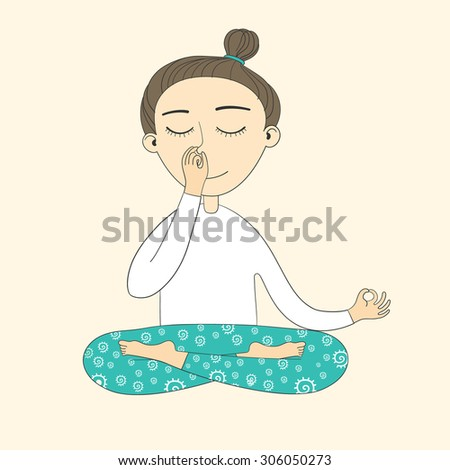 Girl Does Yoga Exercises Vector Illustration Sketch With Asana Healthy Lifestyle