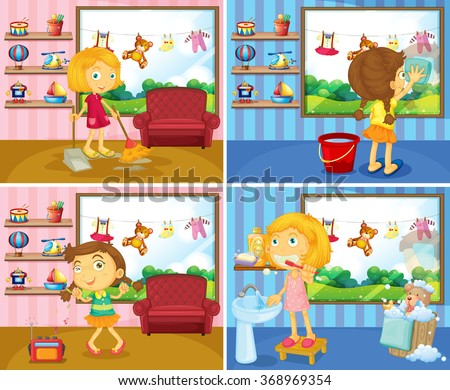 Girl doing chores in the house illustration