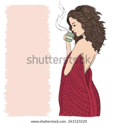 Girl drinking tea in plaid - stock vector