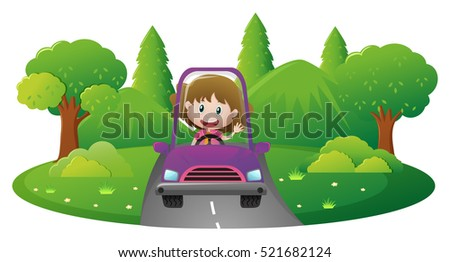 Girl driving car on the road illustration