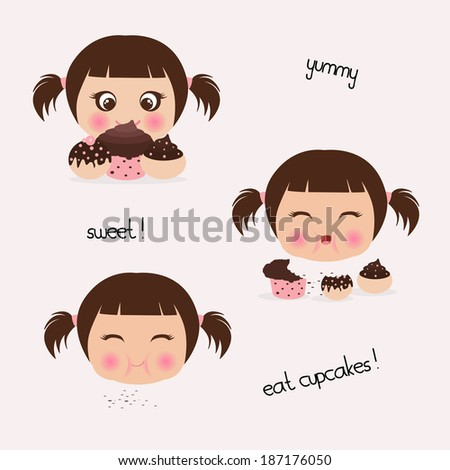 girl eating cupcakes - stock vector