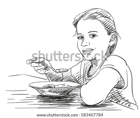 Girl eating food with spoon from plate and smiling, Vector sketch Hand drawn illustration
