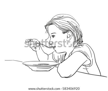 Girl Eating Food Spoon Plate Vector Stock Vector 583406872 - Shutterstock