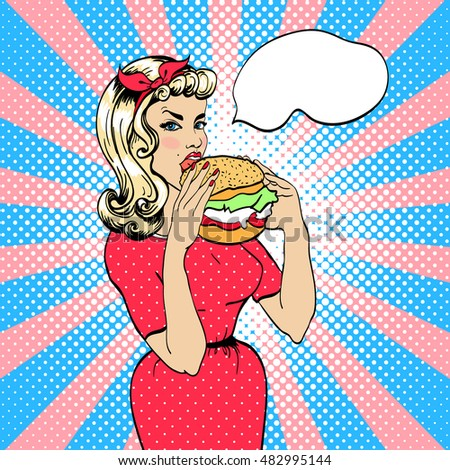 Girl eating hamburger. Retro style. Bubble for text. Pop art illustration in vector format.