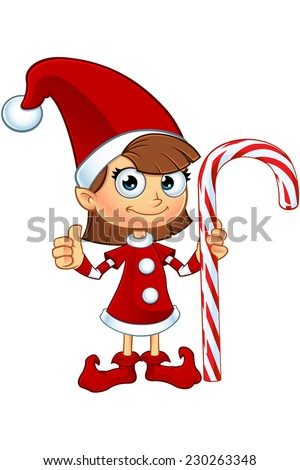 Girl Elf Character In Red - Holding Candy Cane - stock vector